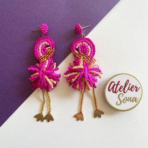 Beaded Flamingo Earrings - Pink